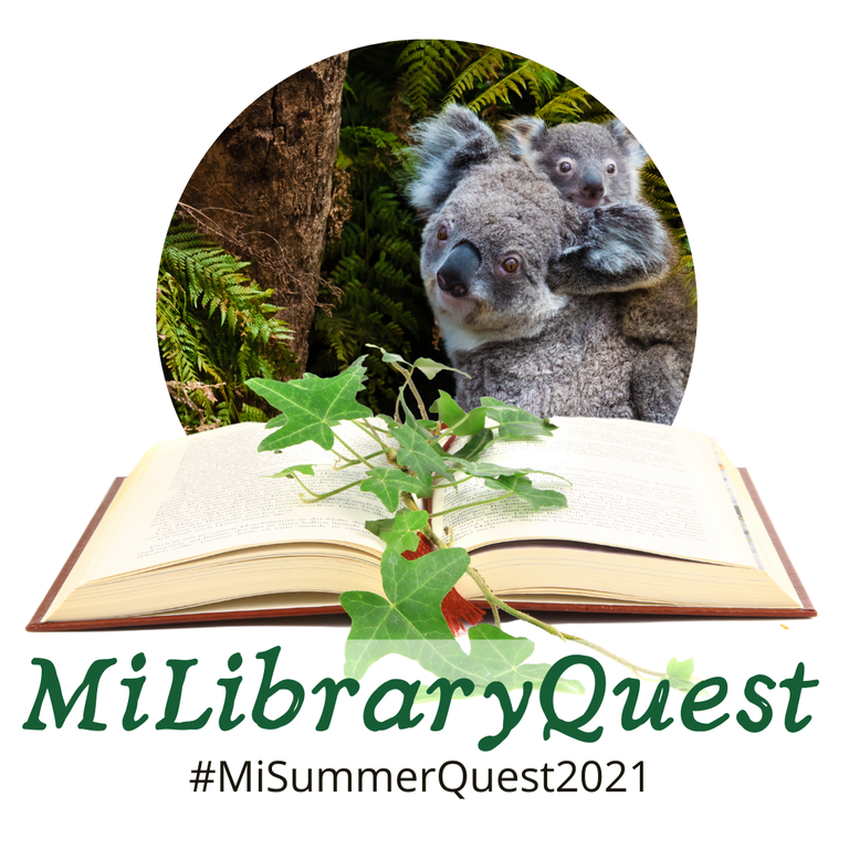 MiLibrary Quest logo with koalas, an open book, and the text #MiLibraryQuest2021